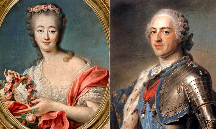 Мадам Жанна Дюбарри и король Франции Людовик XV.