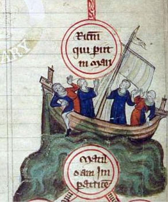 Так изображается кораблекрушение в старой английской рукописи.